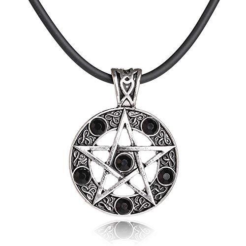 Vintage Estrella De Cinco Puntas Diamante Joyería De Moda Colgante Collar De Hombre Negro