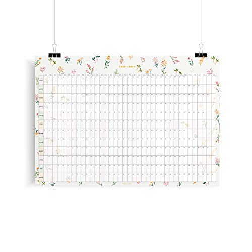 2020-2021 Mid-Year Wall Planner, Tiny Floral, A1 Size, Academic Year Wall Planner, Yearly Calendar,...
