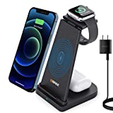 3 in 1 Wireless Charging Station for Apple Products, Qi-Certified 15W Fast Wireless Charger Stand Compatible with iPhone 12/11/X/Xs/Xr/Se/8, AirPods Pro/2, iWatch Series and Samsung Phones