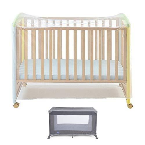 Universal Moskitonetz für Babybett, für 140 x 70 cm Kinderbetten und Gitterbetten, feinmaschiges Insektennetz gegen Ungeziefer, weiß – reißfest – waschbar, Insektennetz für Kinderzimmer