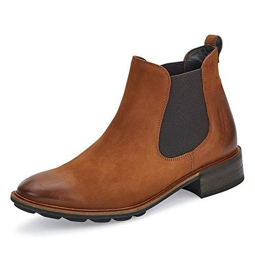 Paul Green Damen Chelsea-Boots, Frauen Stiefeletten, Schlupfstiefel flach weiblich Lady Ladies feminin elegant Women's Women,Braun,5 UK / 38 EU