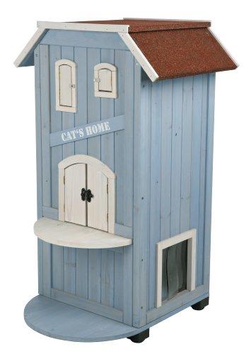 Caseta Exterior Gatos, 56x94x59cm, Azul cl./Blanco