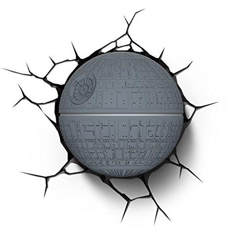 Luz de noche niños LED – Lámapara Star Wars Death Star – Estrella de la Muerte – 3D Light FX - Luz de pared con minutero y pegatina de pared – Funciona con Pilas