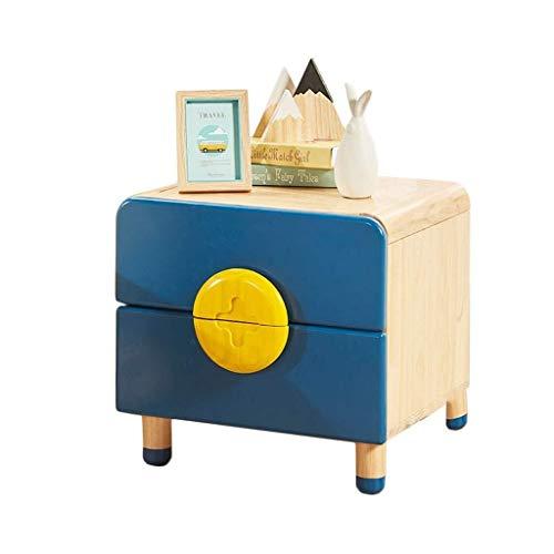 CZWYF Nachttisch Cartoon Massivholz-Lagerschrank Kinderzimmer Lagerschrank Kinderzimmer Bett Kleines Kabinett Umweltqualität Hoch, Blau (Color : Blue, Size : 50.2 * 47.1 * 40cm)