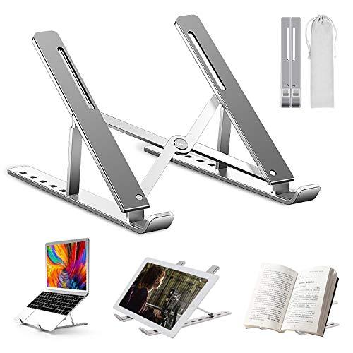 Soporte de aluminio para ordenador portátil, plegable y portátil, con 6 niveles de altura, ampliación y ampliación compatible con todos los ordenadores portátiles.