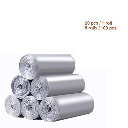 TIM-LI Kleine Müllsäcke, Hochfestes PE-Material Müllsäcke Auslaufsicher, Für Küche/Bad/Schlafzimmer/Zuhause/Büro (5 Rollen / 100 Stück),Silber