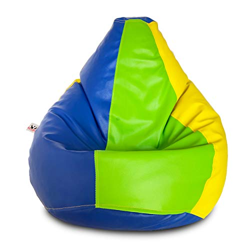 Beanco Leather Bean Bag Filled with Beans (Size: XL)(Color: Green/Yellow/Blue)