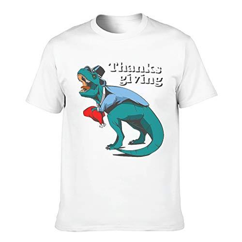 Dinosaurier und Türkei Thanksgiving Funktionelle Bunte Kurzarm Rundhals T-Shirts für Jungen und Mädchen Gr. 58, weiß