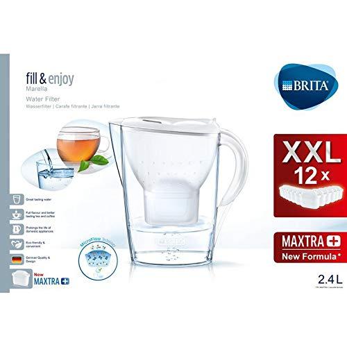 Brita Marella Wasserfilterkanne, 12 Maxtra+ Filter, Kunststoff, weiß, 2,4 Liter