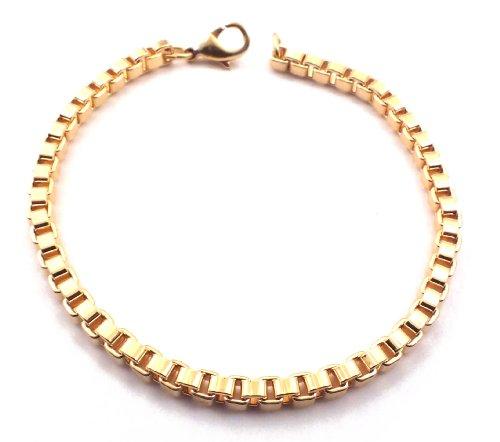Venezianerarmband 18kt Gold Doublé 4 mm Länge 17 cm Armband Herren-Armband Goldarmband Damen Geschenk Schmuck ab Fabrik Italien tendenze VGY4-17