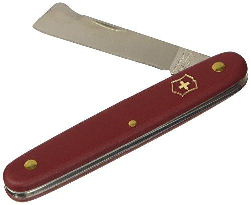 Victorinox Okuliermesser Hakenmesser (Rostfreie gerade Klinge, Rindenheber, Edelstahl, Nylon Griff), Rot