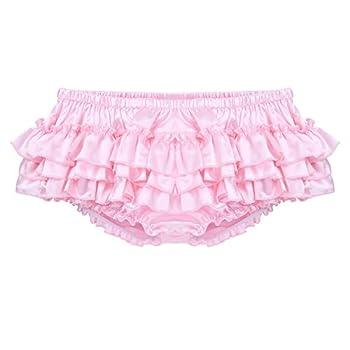ACSUSS Men s Satin Frilly Thong Sissy Crossdress Bloomer Ruffled Skirted Panties Type A Pink Medium Waist 30.0-51.0 /76-130cm