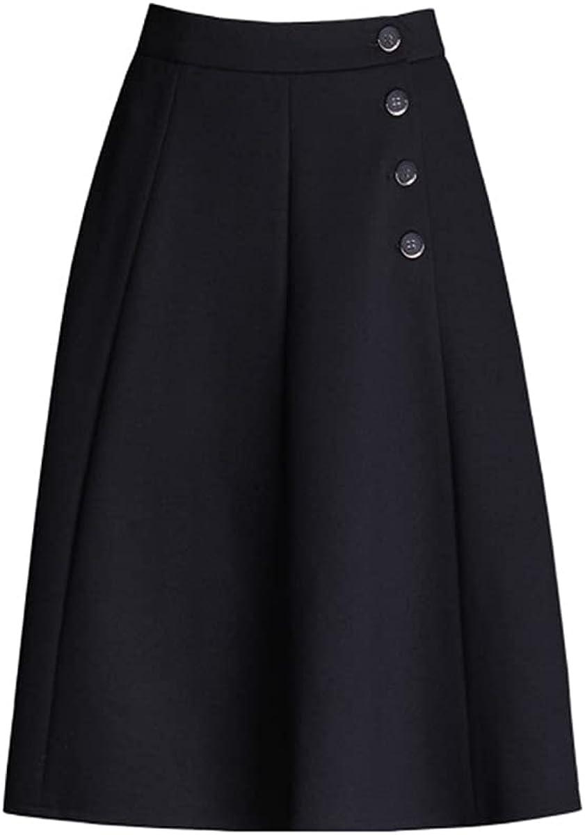 ATHX Women's Solid A-line Skirt High Waist Horn Midi Skirt with Buttons