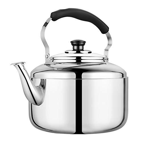 Hervidor de té de acero inoxidable con mango ergonómico, compatible con varias estufas, el agua caliente puede hervir rápidamente (color: plata, tamaño: 6L)