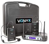 Vonyx WM512H Doppio sistema radiomicrofoni microfoni senza fili (2 microfono ad archetto, VHF, Ricevitore duale e display blu, 2 uscite XLR simmetriche e asimmetriche da 6,3 mm, Valigetta inclusa)