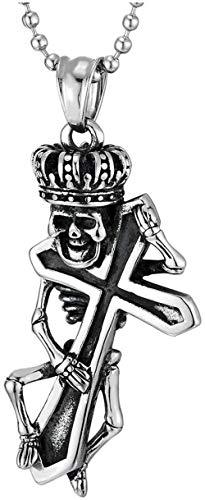 NC86 Collar con Colgante de Calavera con Corona Cruzada Retro de Acero Inoxidable para Hombres y Mujeres, Fiestas, Todo fósforo