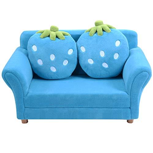 Giantex Kindersofa mit 2 Kissen, Kindersessel Kindercouch aus Korallen-Samt, ergonomisches Design, Erdbeer-Muster, Doppelsofa Minisofa für Wohnzimmer, Kinderzimmer (blau)