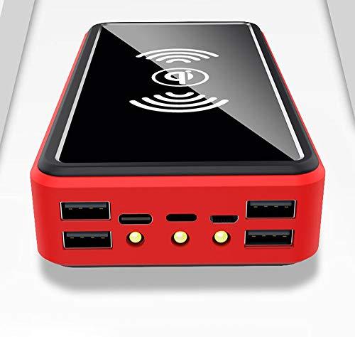YW 100000Mah Power Bank Tragbares Solar-Ladegerät - Externer Akku Mit LED-Statusanzeige, Powerbank Mit Hoher Kapazität, Für iPhone, Android, Rot