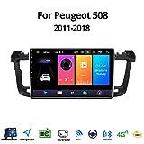 Android 8.1 GPS Navigazione Sistemi Multimediali per Peugeot 508 2011-2018 con 9 Pollici Touch Screen, Supporto Car Radio/Chiamate Bluetooth/Park Assist,WiFi: 1+16gb