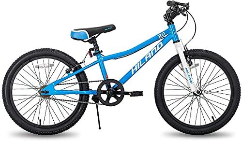 Hiland Climber Vélo 20 pouces VTT pour enfant garçon fille vélo pour 7-15 ans Fourche de suspension Frein en V Pâtisserie non toxique Bleu