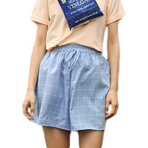 Pantalones Cortos al Aire Libre de Ajuste Relajado de Verano para Mujer Pantalones Cortos de diseño a Cuadros de Lino y algodón cómodos con Cintura elástica Medium