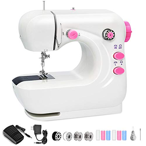 Mini Sewing Machine, Portable Sewing Machine for Beginners, Electric Sewing Machine with 2 Speeds Double Thread, Lightweight Repairing Tailor Machine,Foot Pedal(WHITE)