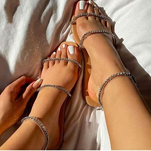 Sandalias planas para mujer con punta cuadrada abierta para mujer, zapatos casuales para mujer, sandalias planas cómodas, plateadas, 42
