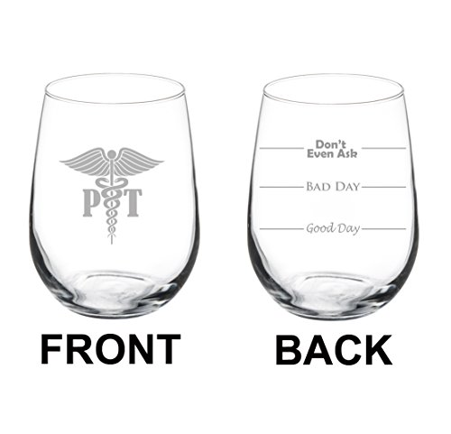 17 oz Stemless Wine Glass Funny Two Sided Good Bad Day Don't Even Ask PT Physical Therapist