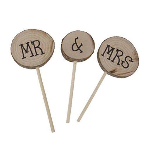 Yalulu Rustikal Hölzern Handgefertigt Mr & Mrs Kuchen Topper Hochzeit Deko Geburtstagsparty Party Supplies Cupcake Topper Tortendekoration
