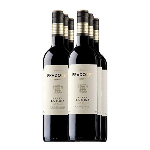 PRADOREY Finca La Mina-Rotwein-Spanischer Wein-Ribera del Duero-Reserva,18Monate in Fässern aus amerikanischer Eiche-6 Monate in konusförmigen Holzbehältern aus Nevers-Eiche-6 Flaschen-0,75L