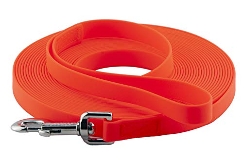 LENNIE Easycare Schleppleine 20 mm, 5-15 Meter (10 m), Neon-Orange, mit Handschlaufe, robust und pflegeleicht durch wasserfeste Ummantelung, Made in Germany