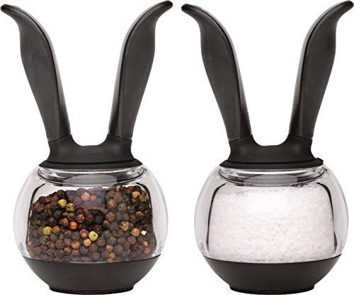 Chef'n Pfeffer- und Salzmühle PepperBall, hochwertige Gewürzmühle, Pfefferstreuer mit Keramik-Präzisionsmahlwerk, vielseitige Kunststoff-Mühlen (Farbe: Schwarz/Transparent), Menge: 1 x 2er Set
