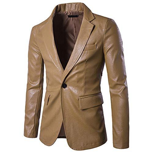 ZMN Herren Wild Pure Color Slim Hochwertige PU Leder Mode Herren Lederkombis-Khaki_S
