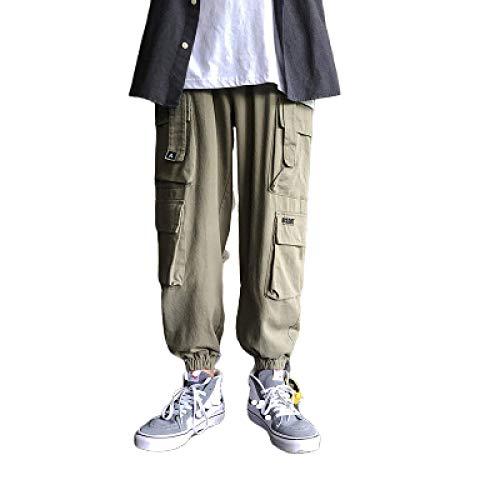 Pantalones con cordón de Cintura elástica para Hombre, Pantalones Multibolsillos de Combate de Carga Sueltos, Casuales, de Ajuste Regular, clásicos 3XL