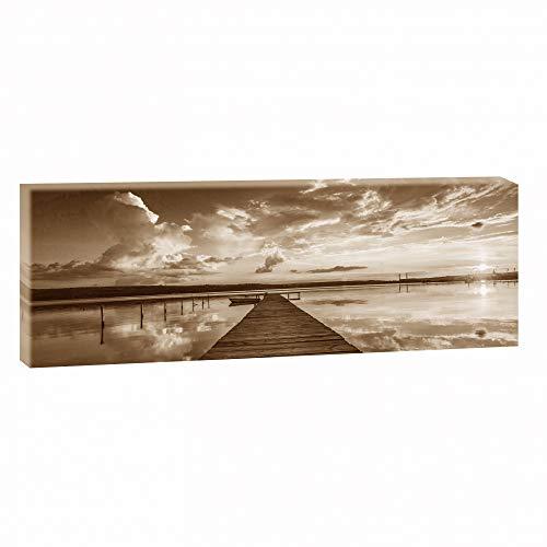 Querfarben Bild auf Leinwand mit Landschaftsmotiv Abendstimmung am Steg   150 x 50 cm, Sepia, Wandbild, Leinwandbild mit Kunstdruck, Nordseebild mit Strandmotiv auf Holzrahmen...