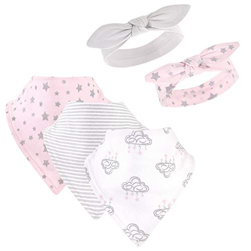 Hudson Baby Unisex Baby Cotton Bib and Headband Set, Cloud Mobile Pink, One Size