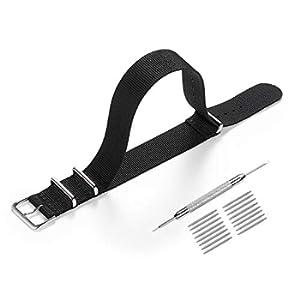 Cinturino per orologio Nato, in tessuto di nylon di alta qualità, 18 mm, 20 mm, 22 mm, con fibbia in acciaio inox (18mm, black)