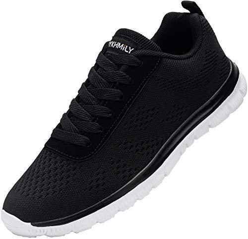 DYKHMILY Zapatos de seguridad Hombres Mujeres Acero Toe Cap Entrenadores Ligero Zapatos de Trabajo Transpirable Industrial Zapatos de Protección, color Negro, talla 46 EU