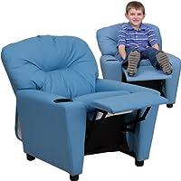 Flash Furniture Contemporary Light Blue Vinyl Kids Recliner