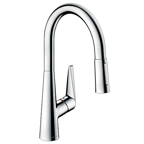 hansgrohe Talis S kitchen tap 200 mm high with pull out spray, swivel spout and 2 spray patterns, chrome 72813000