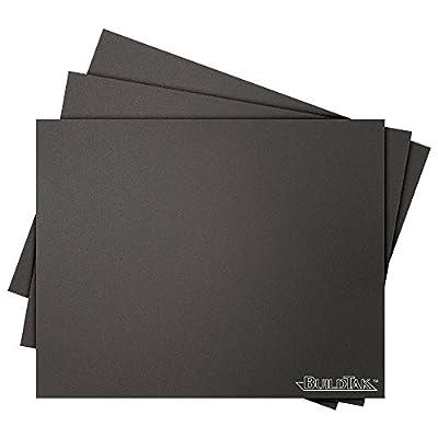 "BuildTak BT08X10-3PK 3D Printing Build Surface, 8"" x 10"", 203 mm x 254 mm, Rectangle, Black (Pack of 3)"