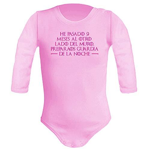 Body bebé unisex Preparaos guardia de la noche(Juego de tronos - parodia). Regalo original. Body bebé divertido. Manga larga. (Rosa, 3 meses)
