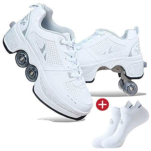 Mettime Rollschuh Roller Skates Lauflernschuhe,Sneakers,2in1 Mehrzweckschuhe Schuhe mit Rollen Skateboardschuhe,Inline-Skate,Verstellbare Quad-Rollschuh Stiefel Skateboardschuhe EU39/UK6