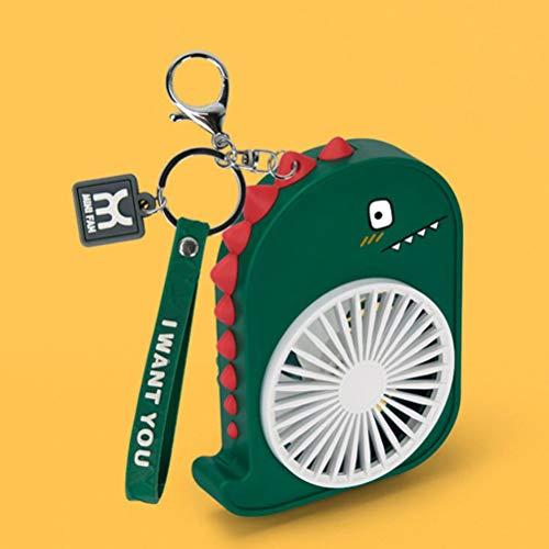 1 llavero de dinosaurio pequeño ventilador recargable por USB, mini ventilador portátil personal de mano para viajes, 2 velocidades, portátil, lindo, para niños, estudiantes, niñas (verde)