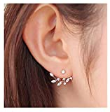 Elensan Rose Gold Leaf with Cz Crystal Ear Cuff Jacket Front Back Stud Earring for Woman G...