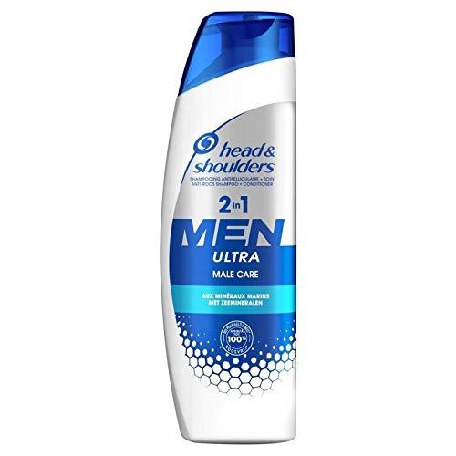 Head & Shoulders Shampooing Antipelliculaire + Soin 2 in 1 Men Ultra Male Care aux Minéraux Marins 255ml (lot de 4)