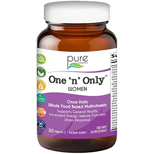 One N Only Multivitamin for Women by Pure Essence - Natural One a Day Herbal Supplement with Vitamin D, D3, B12, Biotin - 30 Tablets