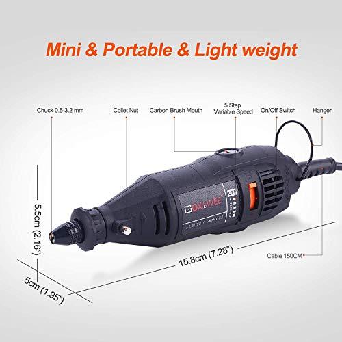 GOXAWEE Mini Outil Rotatif Electrique - 130W Mini Meuleuse/Perceuse Set avec Arbre Flexible & Mandrin Universel & 140 Accessoires pour Projets de Bricolage