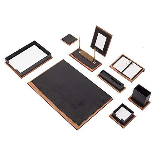 Luxuriöses Star 11 teilige Büro Schreibtisch Set Schreibunterlage mit Dokumentablage aus Holz-Leder in 5 Farben, Farbe:Schwarz