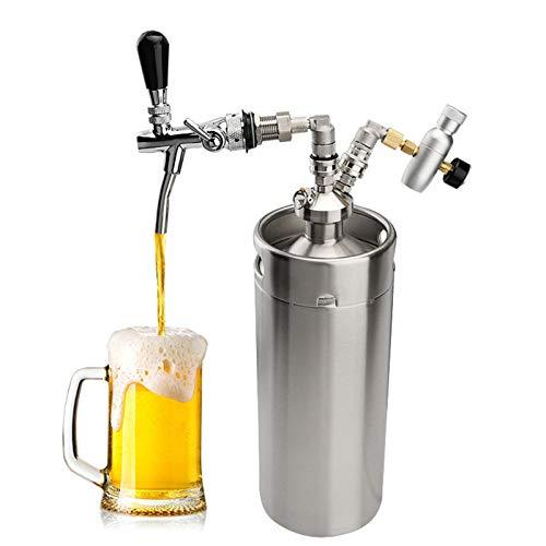 HJUIK dispensador de Cerveza Dispensador Cerveza Acero Inoxidable 3. 6L128oz Mini CO2 Regulador Cerveza con Ajuste De Grifo Ajustable Kit Sistema Homebrew Barra Cerveza Herramientas, Cerveza Grifo